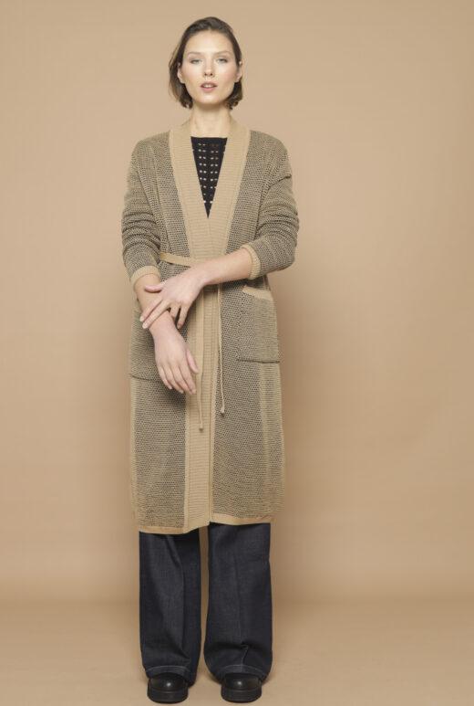 Textured knit cardigan Mai sand